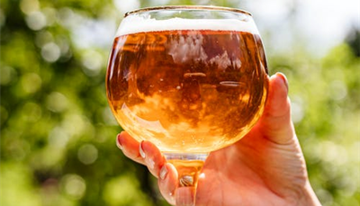Image of beer in an oversized wine glass