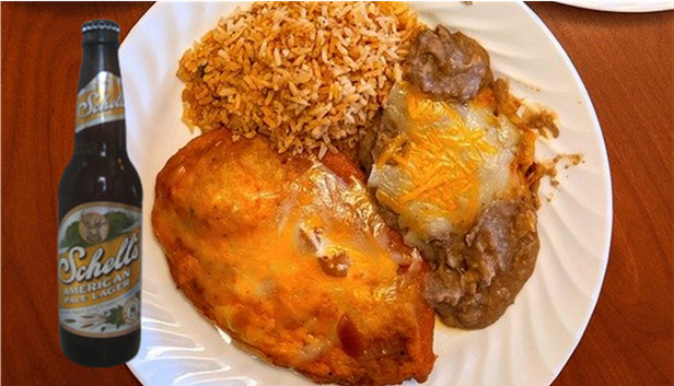 Image of a beer and food pairing: American Pale Lager with a chile relleno, rice, and refried beans