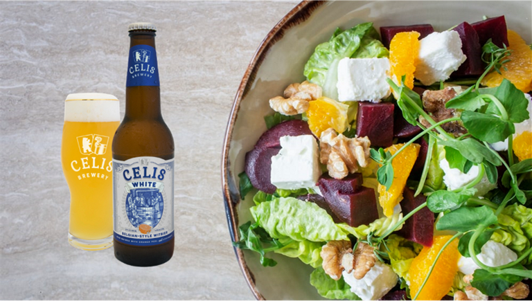 Image of a beer and food pairing: Belgian whitbier with a citrus salad