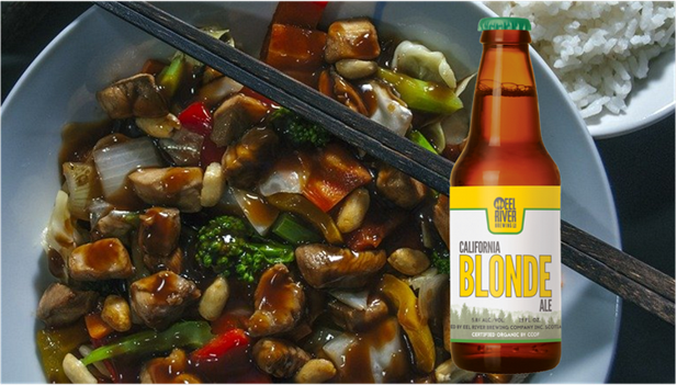Image of a blonde ale with kung pao chicken