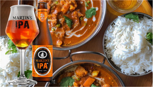 Image of a beer and food pairing: IPA with rice and coconut curry