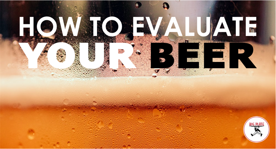 """Closeup image of the head of the beer in a glass with text """"How to Evaluate Your Beer"""""""