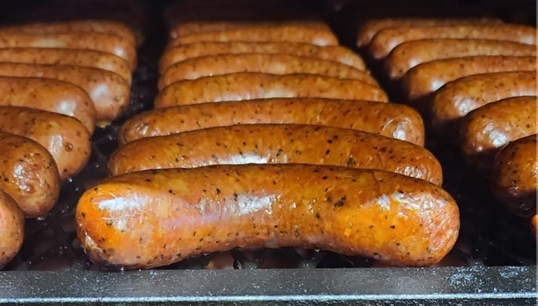 Image of Evie Mae's sausages on the smoker