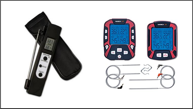 Image of instant read digital thermometer and probes with remote. Image represents that to know how to smoke a brisket you must take an accurate temperature.